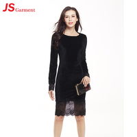 JS 20 New Shop Ladies Sexy Woman Velvet Prom Dress With Long Sleeve 778