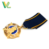 Customized high quality Die casting Gold Government for Decoration Classic ribbon Medal lapel pins badge
