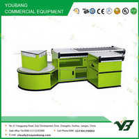 Hot sell good cheap green color supermarket cashier counter table (YB-H07)