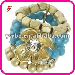 Bead flower gold tone stretch band rings(R100594)