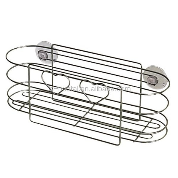 Shower Caddy,Bathroom Wall Mounted Soap Shampoo Shelf With Two Suction Cups Shower Basket BR07