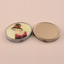 Matte Chrome Oval Compact Mirror