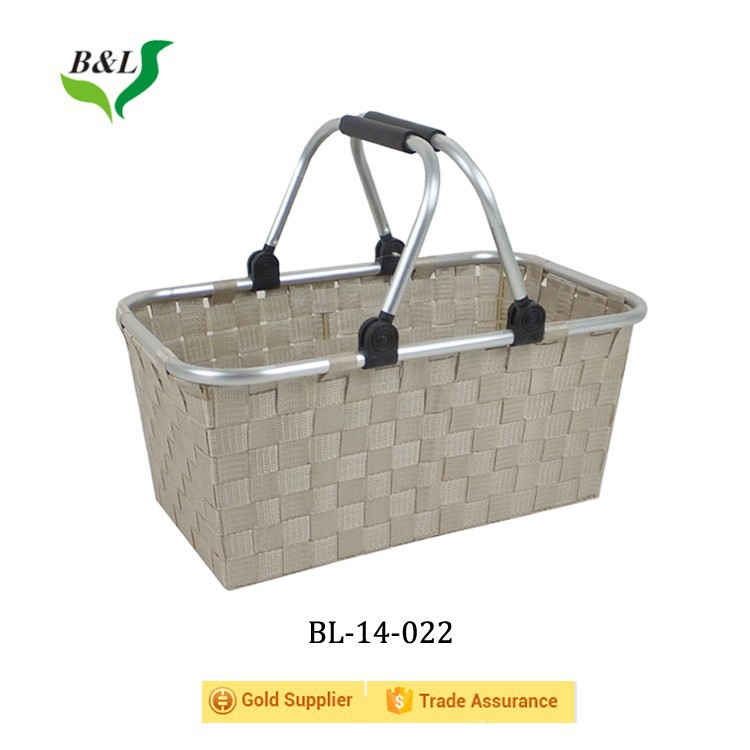 Handmade pp strap woven storage basket with aluminum handle for shopping