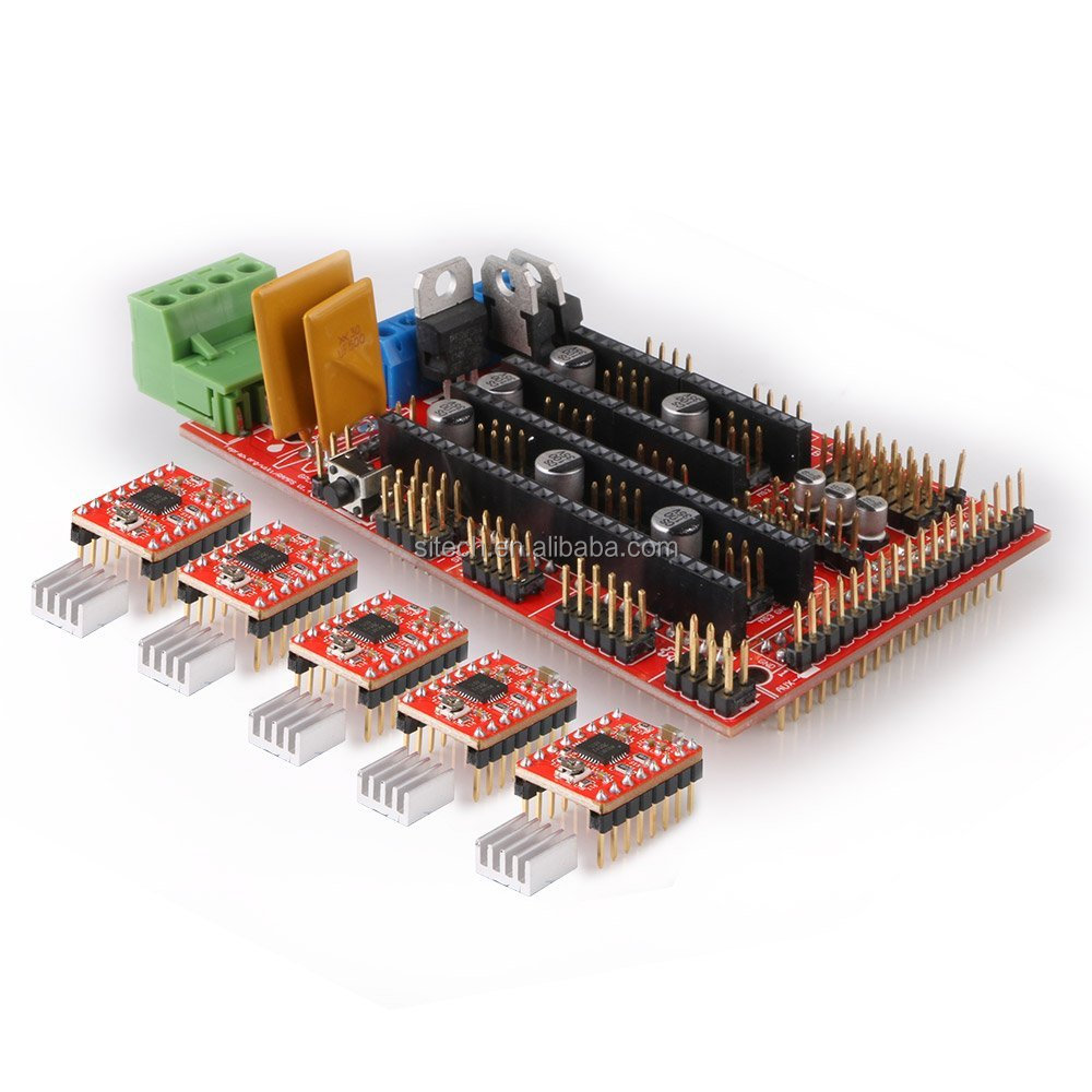 3D Printer Kit Control Panel RAMPS 1.4 Board + 5pcs Stepper Motor Driver A4988 with Heat Sink