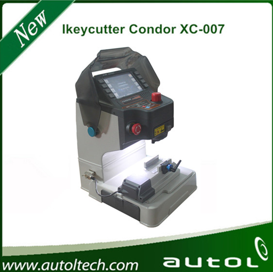 IKEYCUTTER CONDOR XC-007 Master Series Key Cutting Machine shows key cuts on the touch-up LCD screen