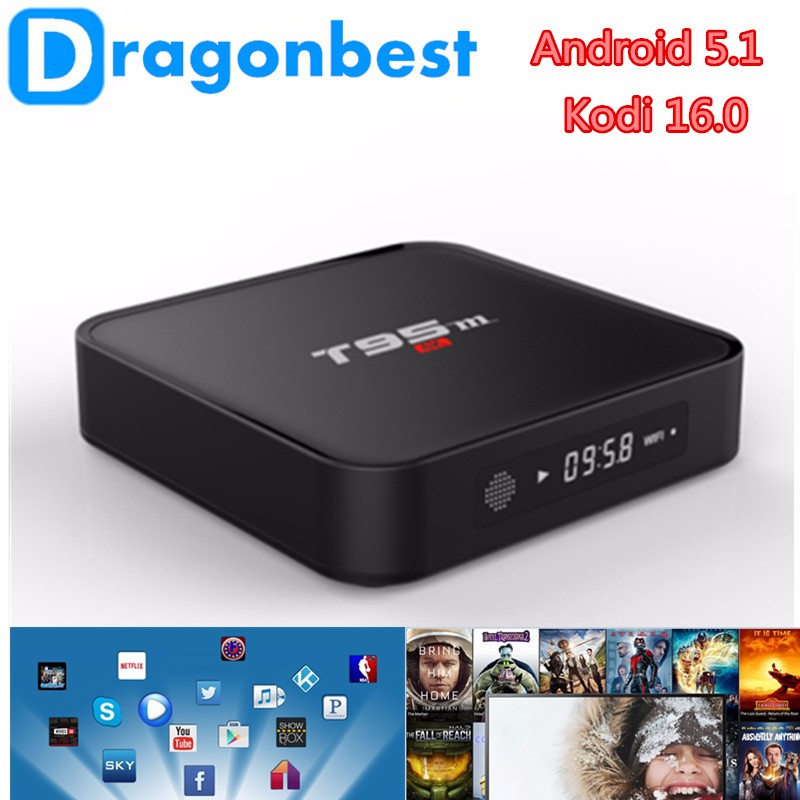 loaded amlogic satellite T95M S905 2G 8G Quad core android 5.1 tv box Kodi16.0