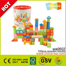 Confirm to EN71 ASTM 100pcs colorful wooden building blocks toys