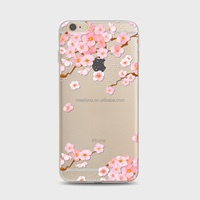Pink Sakura Printing TPU mobile phone case Soft cell Phone covers For iPhone 6 plus 6S plus