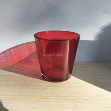 Custom Pantone Color Number Spray Red Colored Glass Votive Candle Holder