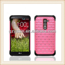 new products mobile phone diamond case for lg g2 combo case,pc silicon phone case for lg g2