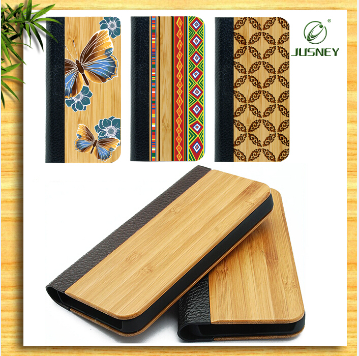 mobile flip case/wood phone case card holder for iphone 4/5/6/6plus