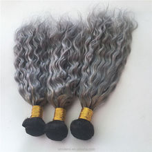 hot selling ombre grey color natural wave hair bundles for old women