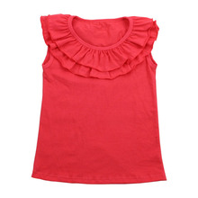 Good quality children summer clothes girls collar double-ruffle designs kids solid red plain T-shirt