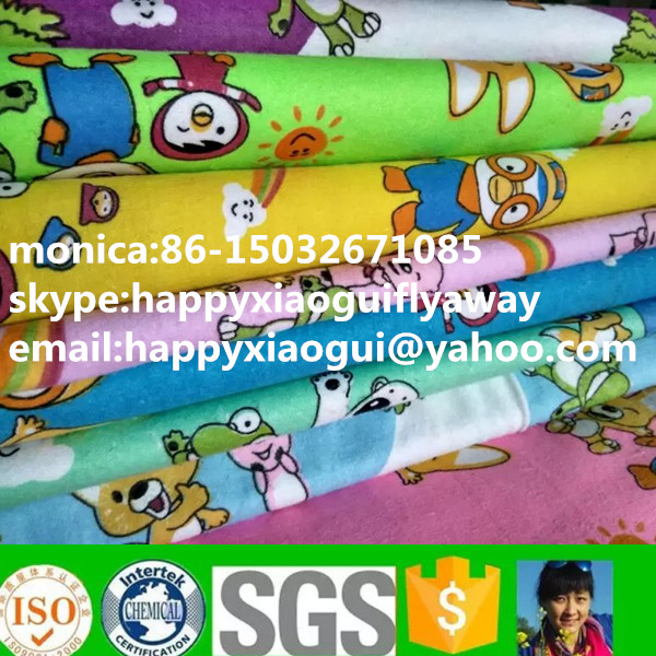 custom printed/dyed/bleached 100% cotton flannel sheeting/bedding fabric for home/hospital children/ baby bedsheet