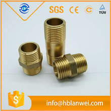 "1/2"" pipe size 2"" long brass hose nipple with NPT thread"
