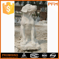 Decorative garden handmade customized natural stone white marble dog statue