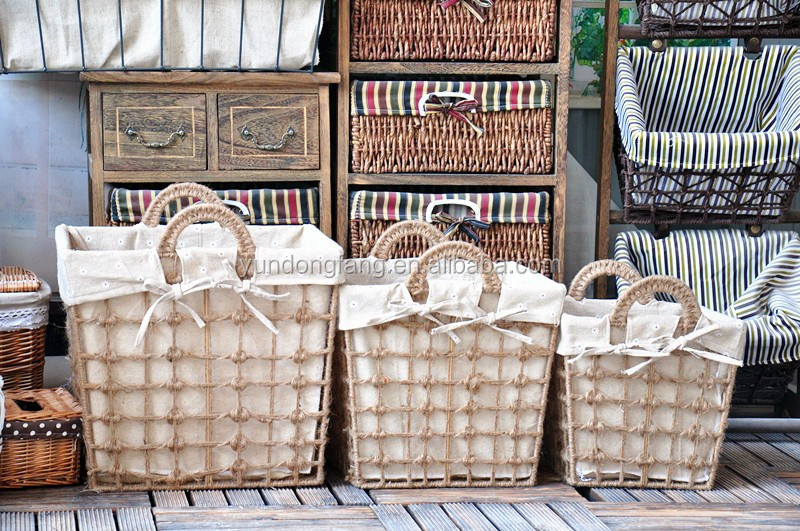 Wholesale woven picnic basket set with tableware empty christmas hamper baskets