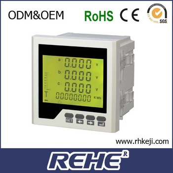 2014 newest three phase four lines DC 30 5A multifunctional LCD display power meter