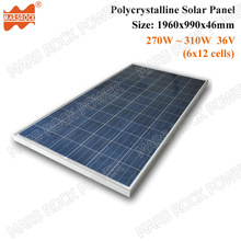 270W to 310W 36V 72cells Polycrystalline Solar Panel in 1960x990x46mm for Grid Tie or Off Grid Solar Power System