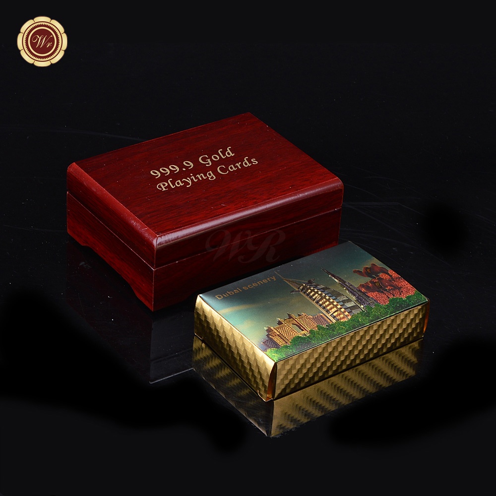 WR Waterproof Luxury 24K Gold Foil Plated Poker Dubai Scenery Premium Plastic Board Games Playing Cards with Wooden Gift Box
