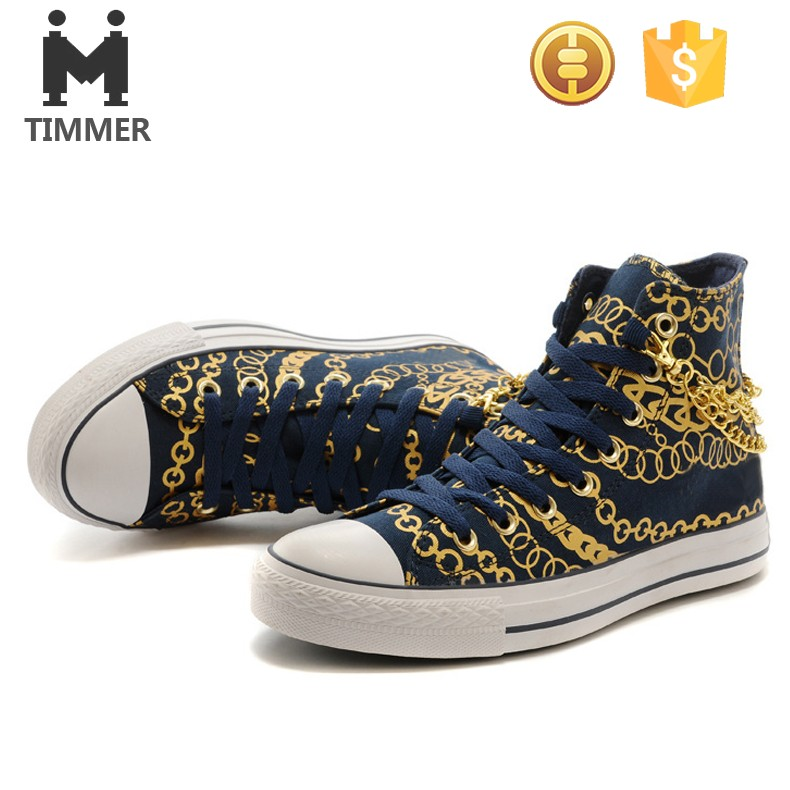 cool and rock high cut sneaker men printed canvas shoes navy blue