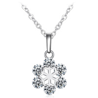 Crystal The new fine CZ Snowflake Pendant Accessories nice necklace gift for Women