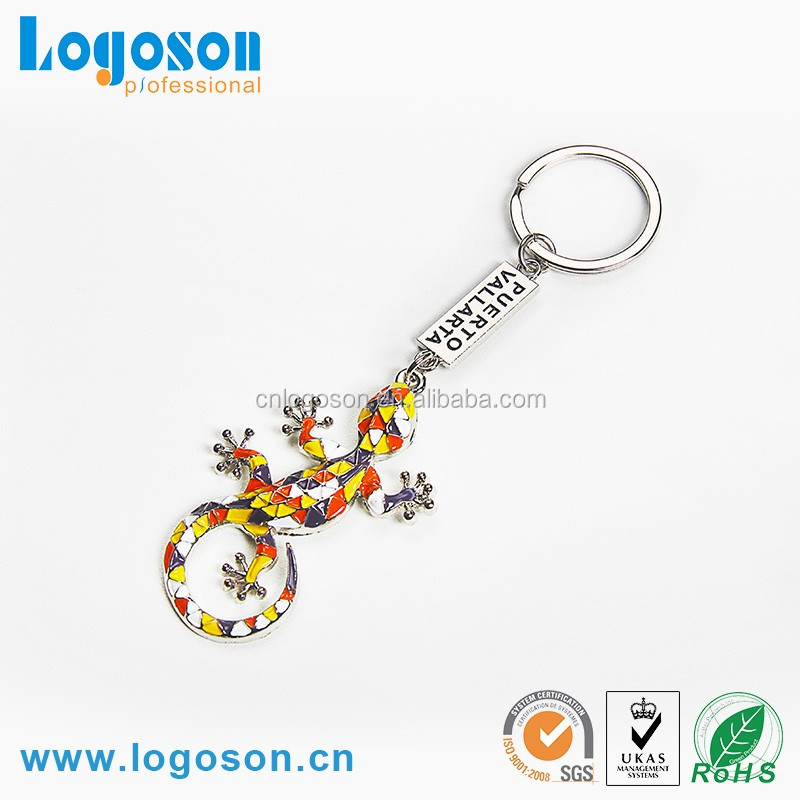 New Design Souvenir Engraved Logo Crawl Animal Metal Keychains