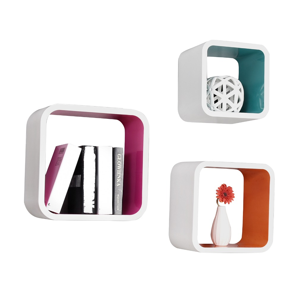 Multifunctiona plastic floating decorative round cube wall shelf