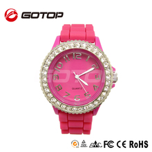 Fashion women stainless steel back colorful silicone strap geneva women rhinestone watches