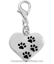 Wholesale Black Dog Paw Print Hanging Charms