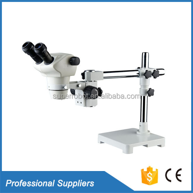 Single arm boom stand stereo zoom microscope 4X~100X stereoscopic binocular microscope