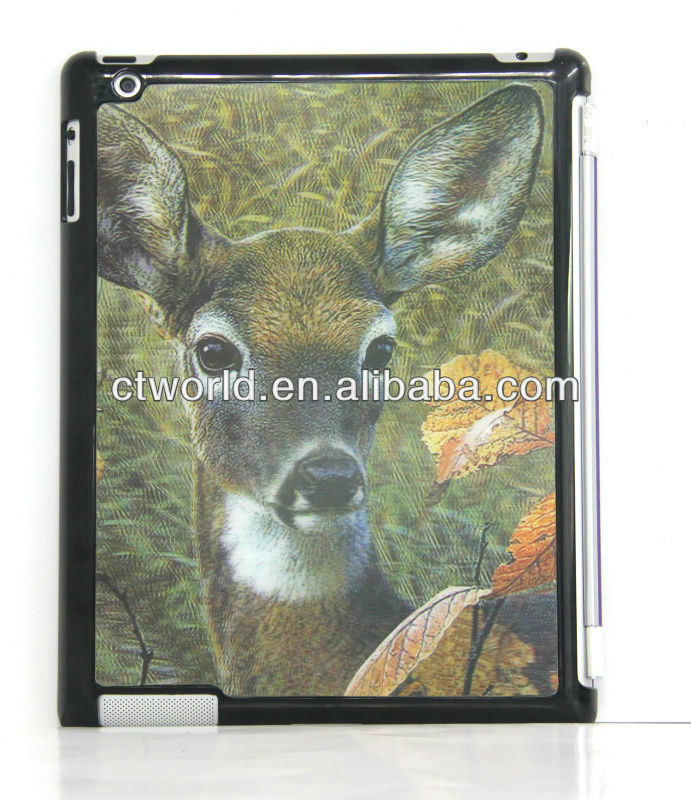 3D animal case for ipad 3,for vivid image back ipad cover