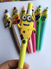promotion lovely cute soft pvc minions plastic cartoon character ball pen