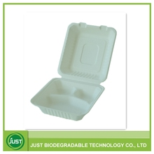 Disposable paper pulp 3 compartment take away chinese food box H8