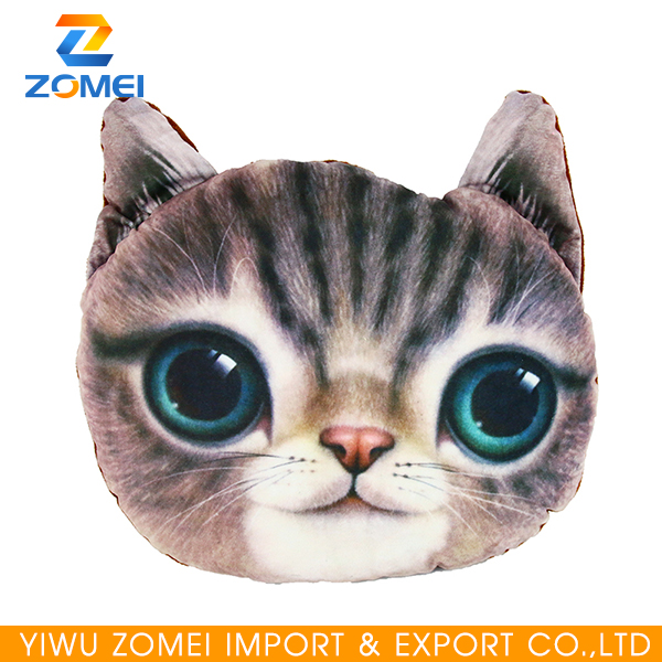 Oem custom 3D digital printed cat shaped pillow cushion for kids