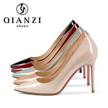 D313 China wholesaler nude red bottoms sexy high heels patent leather pumps women