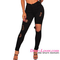 2016 Latest Design Factory Manufacture Cheap Sexy Black Ripped Skinny Jeans For Women