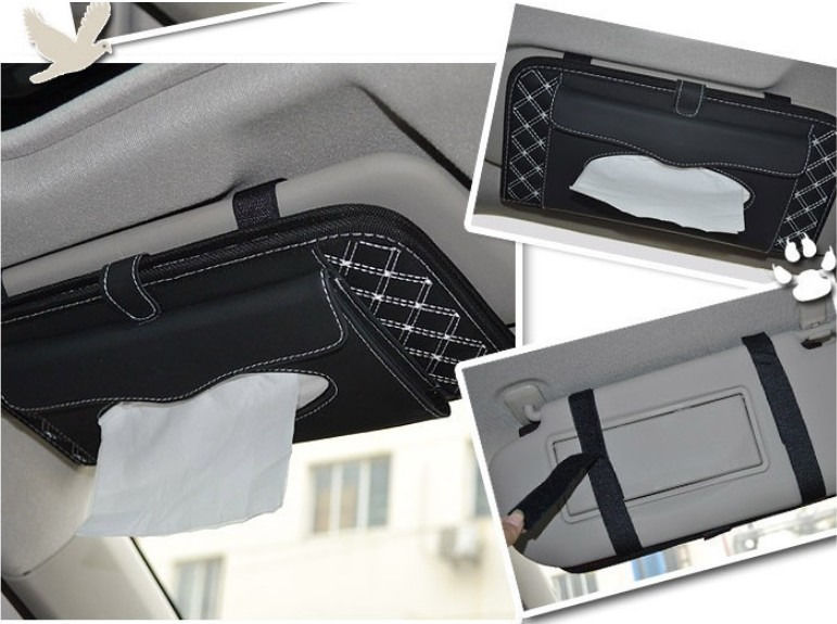 Car Interior Sun Visor Leather Tissue Box Napkin Covers DVD CD Folder Wholesale