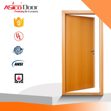 ASICO UL Listed 20min 45min 90min Fire Rated Fireproof Single Swing Entry Wooden Door For Main Entrance