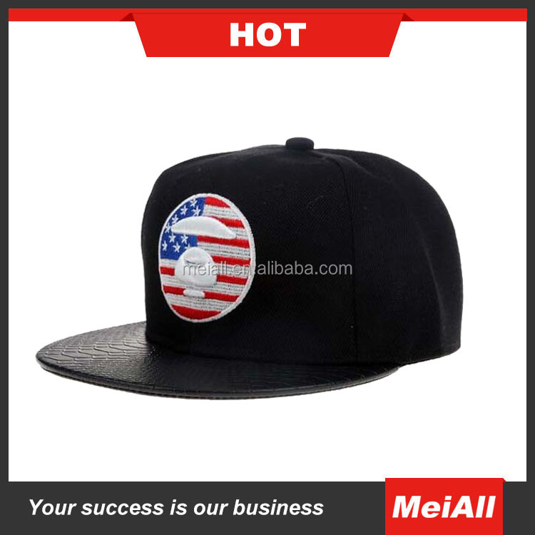 Blank wholesale leather strap 5 panel snapback hats