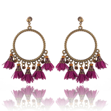 2018 Womens Round Circle With Tassels Drops Hanging Earring Jewelry Latest Vintage Design Lace Artificial Flower Earrings