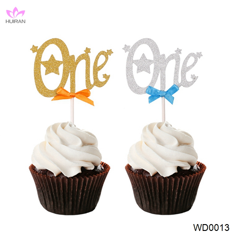 Shinning Gold Silver One Baby Shower Cupcake Toppers Happy Birthday Cake Topper