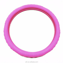 Cheap Auto car heated pink silicone steering wheel cover