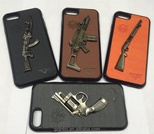Hot innovative mobile phone and accessories 3d cool air soft military gun leather case armour cover for iphone 7 8 case