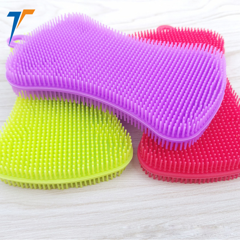 kitchen silicone <strong>brush</strong> anti bacterial silicone dishwashing scrubber