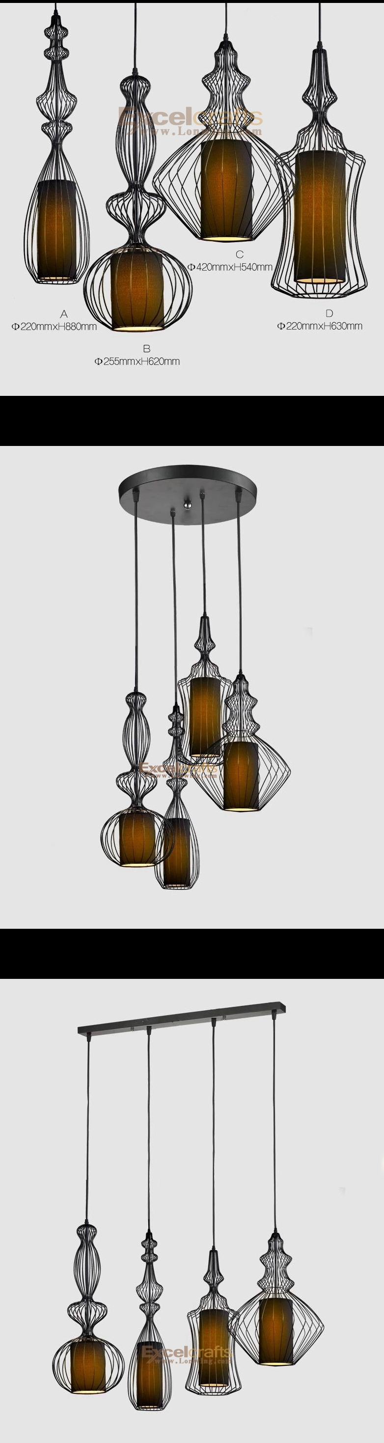 Vintage Nobleman ABCD Chandeliers Bird Cage Iron Lamps for Home Lightings