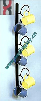 Vertical WALL MOUNT 6 CUP MUG RACK HOLDER DISPLAY BLACK METAL/hanging cup holder/coffee cup holder
