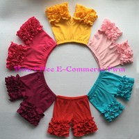 Wholesale Girls Icing Shorts Boutique Knitted Cotton Children's Multicolor Triple Ruffled Shorties from size 6m to 14t BS009