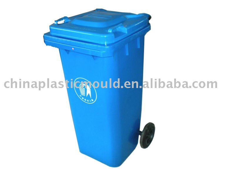 Plastic dustbin with lid and two rubber wheel