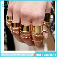 Pretty Fashion 9pcs/set 14k Rose gold ring Bohemia style flexible statement full finger ring for women party gift